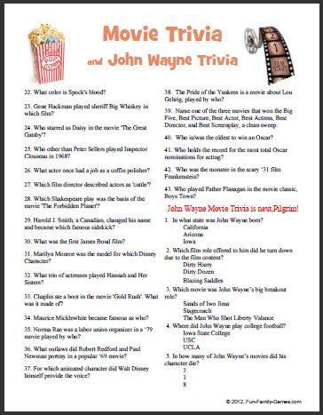 This movie trivia John wayne game covers many years  | Games