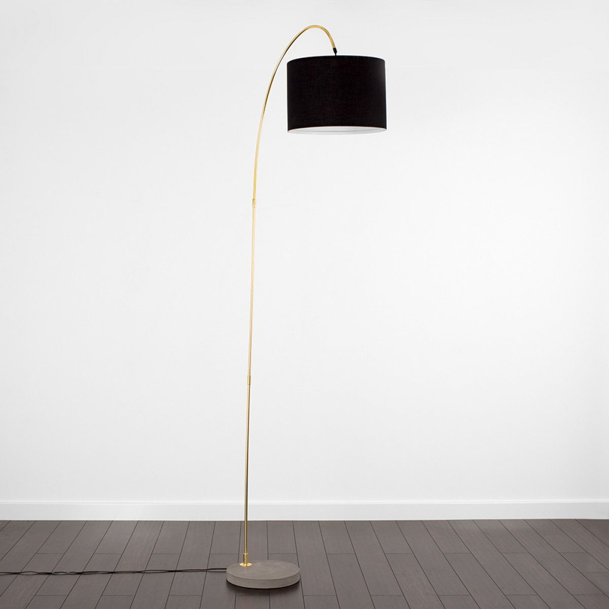 Dubose Floor Lamp In Gold With Cement Base Floor Lamp