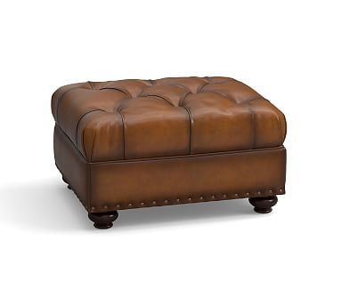 Lansing Leather Ottoman, Polyester Wrapped Cushions, Burnished Bourbon