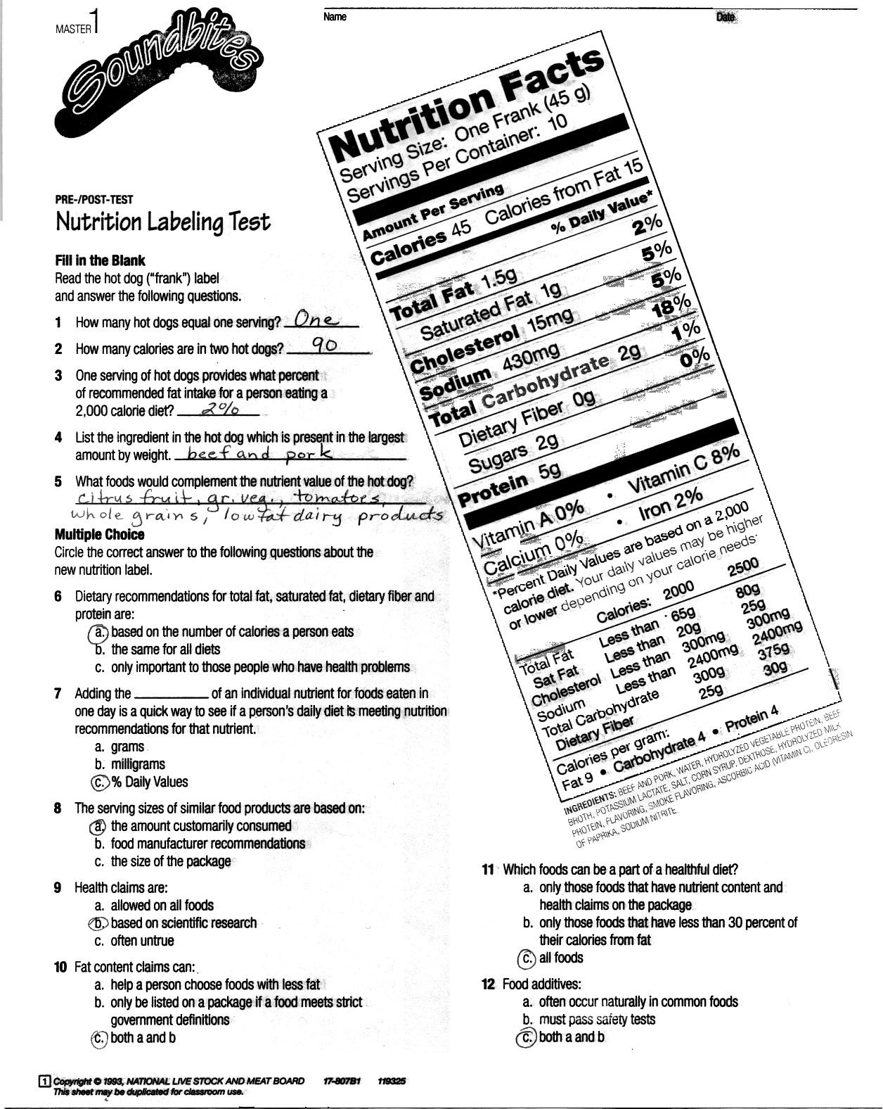 Nutrition Label Worksheet Answer Key Besto Blog