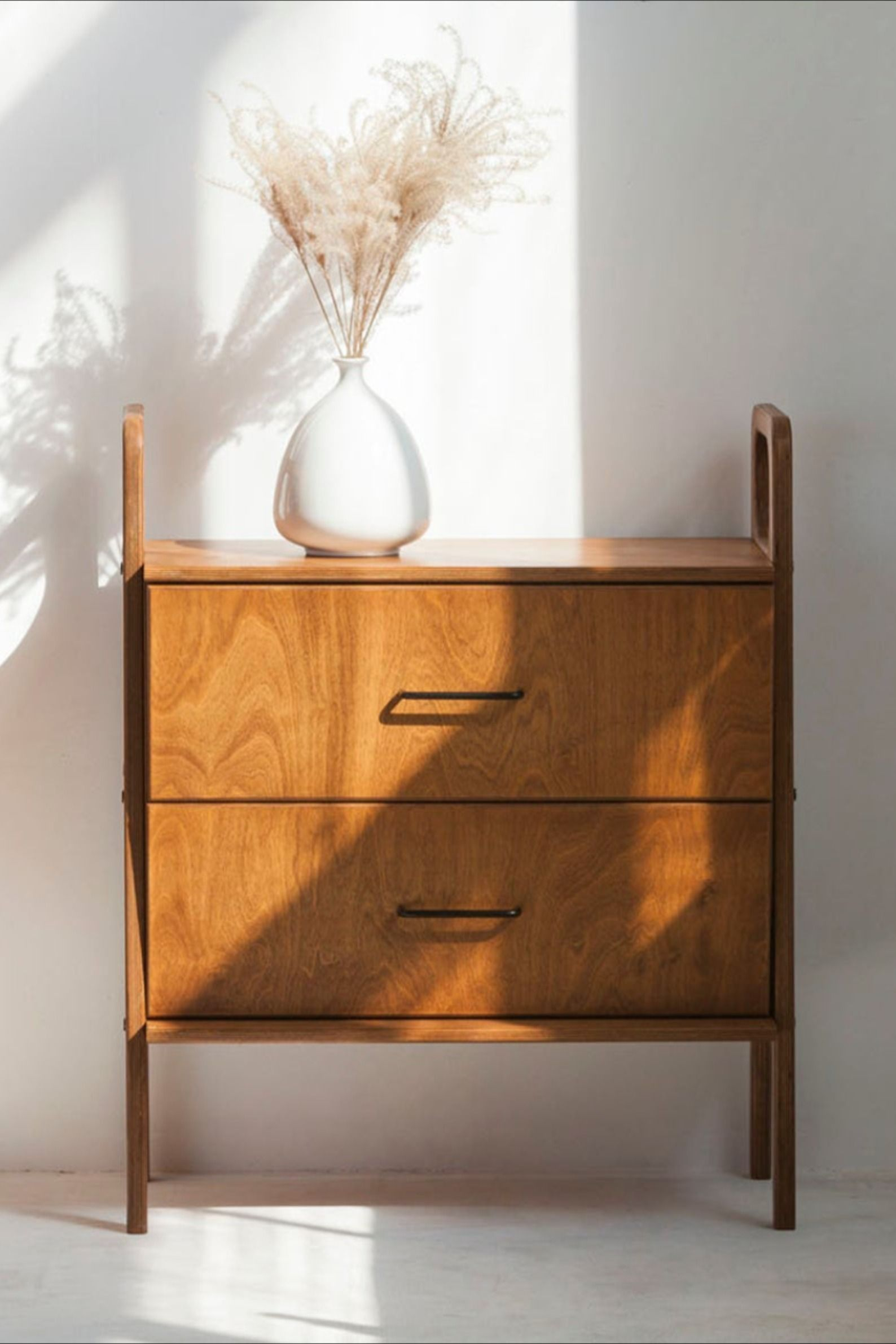 Bedside Table Scandinavian Mid Century Modern Retro Style With 2 Drawers Wood Nightstand Nightstand Scandinavian Bedside Table In 2020 Bedside Table Scandinavian Midcentury Bedside Table Scandinavian Mid Century Modern