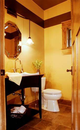Cute Half Bath Yellow Walls Brown Trim Tile Floors Half Bathroom Decor Log Home Bathrooms Bathroom Decor