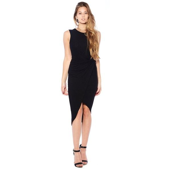 12am Party's Black Matte Jersey Dress, Little Black Dress for Women (68,730 KRW) found on Polyvore featuring dresses, little black cocktail dresses, black party dresses, black matte jersey dress, kohl dresses and night out dresses