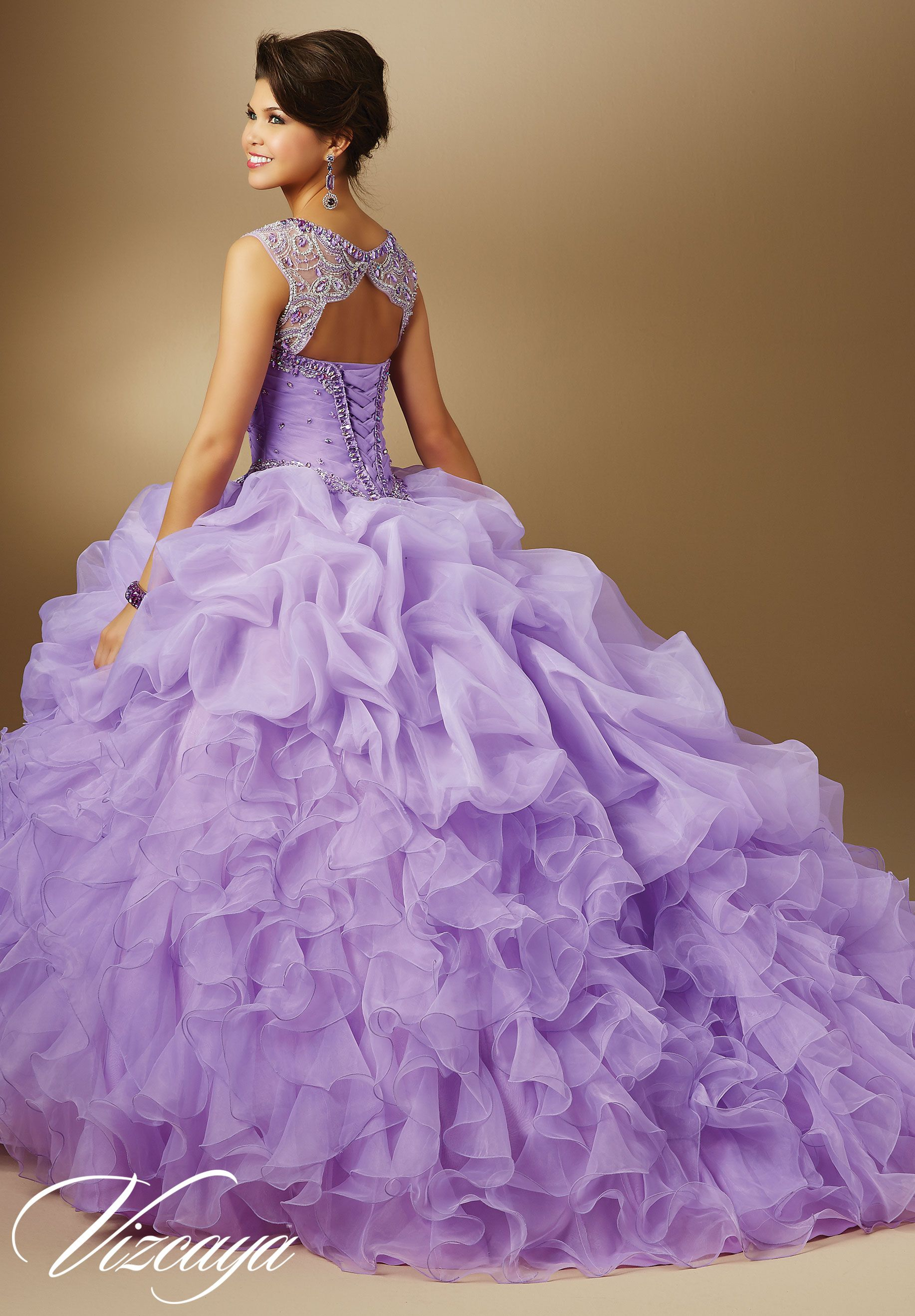 Jeweled Beading On Organza Quinceañera Dress Morilee 15