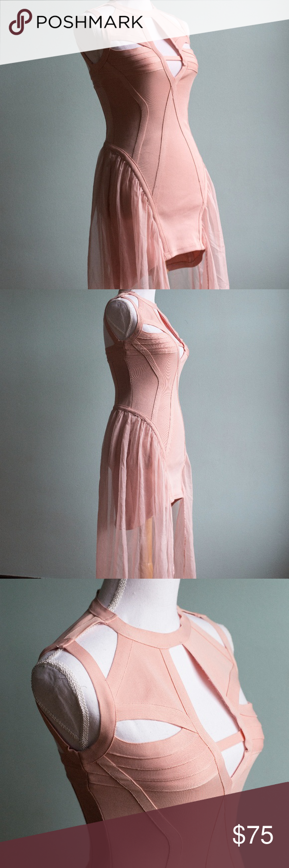 Pink cut out dress  Rare UNIF Godspeed Bold Cut Out Dress  Sheer fabrics Unif and High low