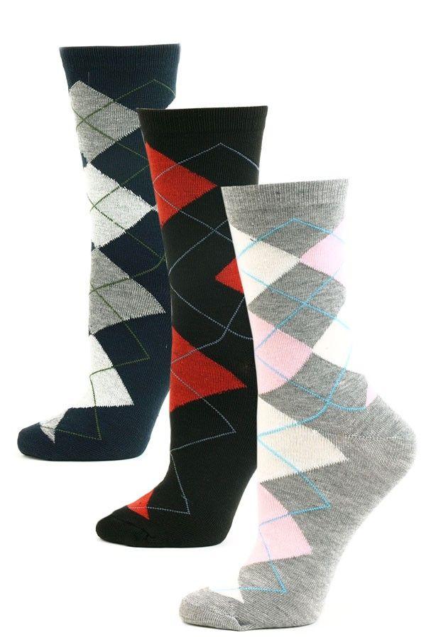 5ae3ec7be81 Yelete Women s Argyle Crew Socks - 3 Pairs - Navy Gray