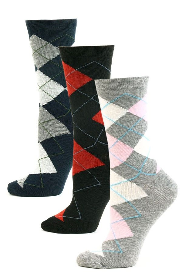 5fd0b07e604 Yelete Women s Argyle Crew Socks - 3 Pairs - Navy Gray