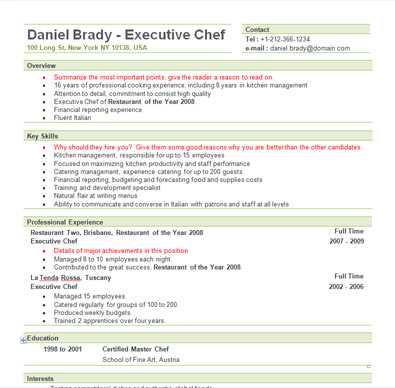 Free Sample Executive Chef Resume Template | Chef resume ...