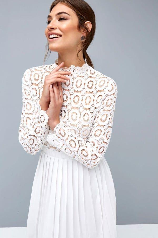 15767ed425f Little Mistress White Crochet Lace Midi Dress with Pleatsclass