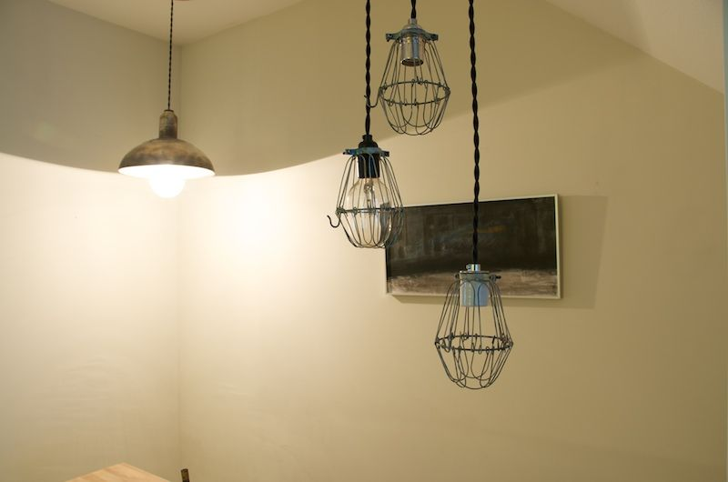 vintage cage lights rewired with black cotton braided wiring rh pinterest com