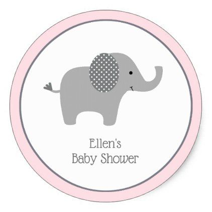 Pink Elephant Baby Shower Stickers - baby gifts child new born gift idea diy cyo special unique design