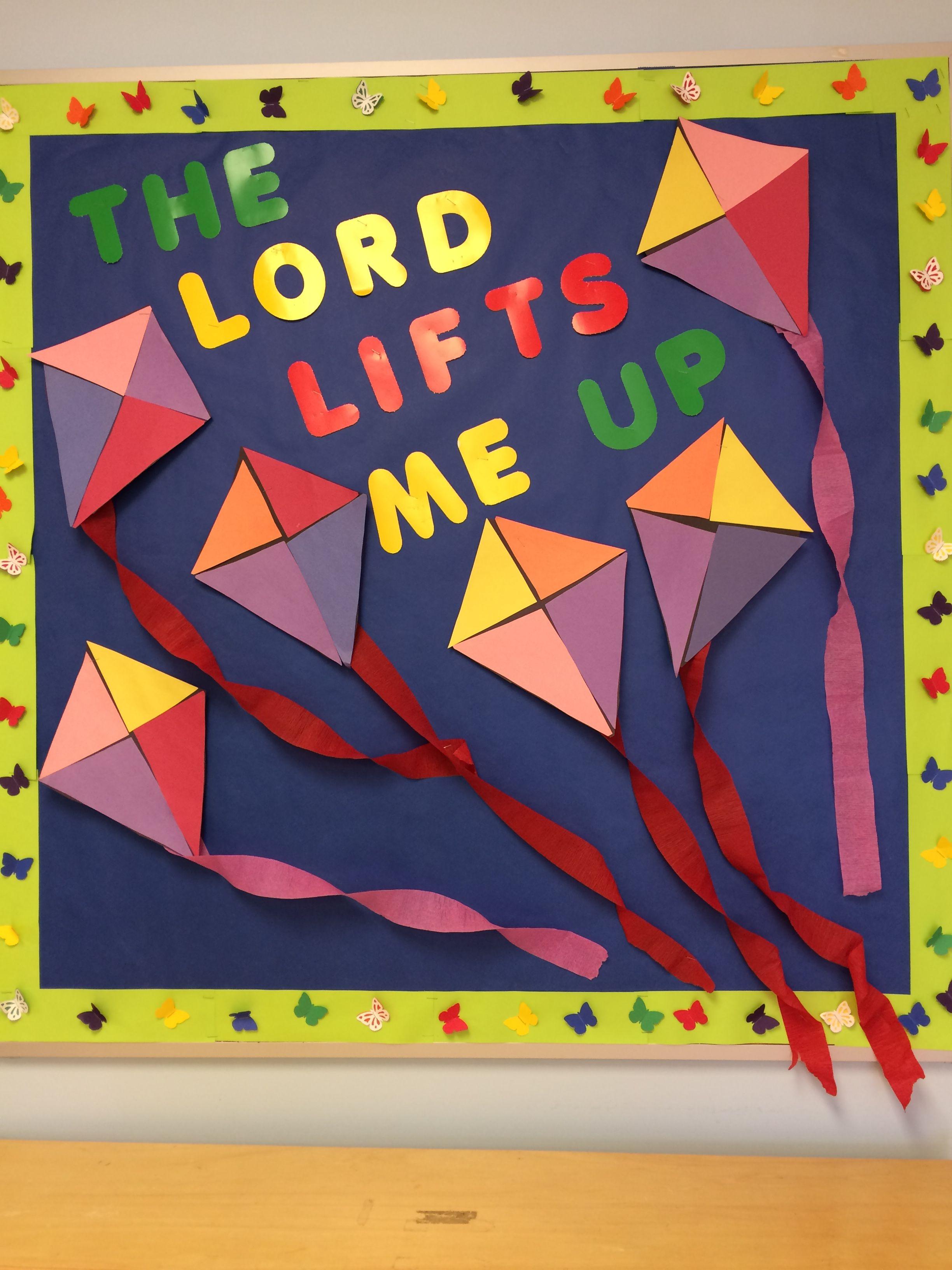 Springtime Bulletin Board Kites And Butterflies Christian School Boards Preschool Bible