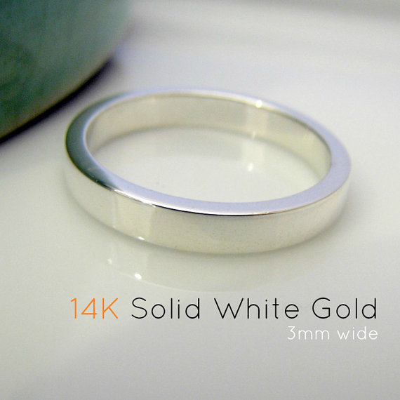 Solid 14k White Gold Wedding Band 3mm Polished Shiny Or Etsy 14k White Gold Wedding Band Gold Wedding Band White Gold Rings