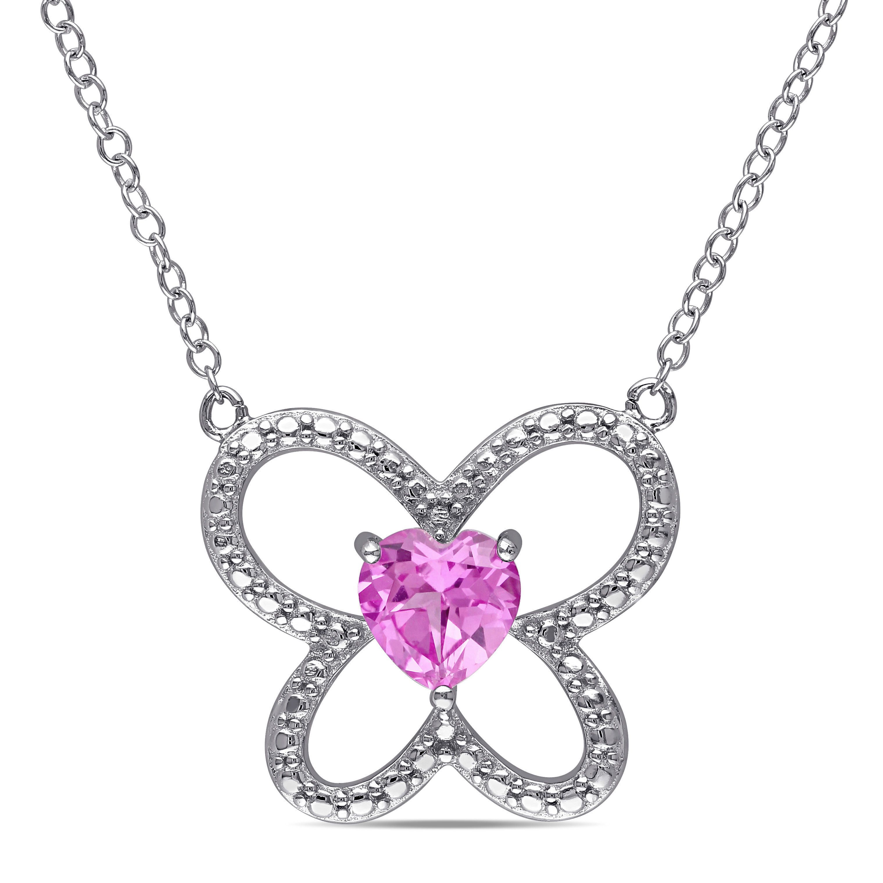 Miadora Sterling Silver Created Sapphire Butterfly Heart Necklace, Women's