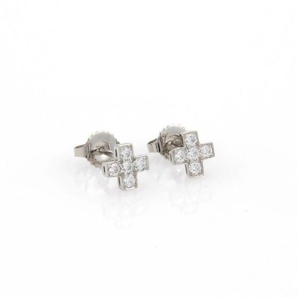 Pre Owned Tiffany Co Platinum Cruciform Diamond Cross Stud 1 650 Liked On Polyvore Featuring Jewelry Earrings