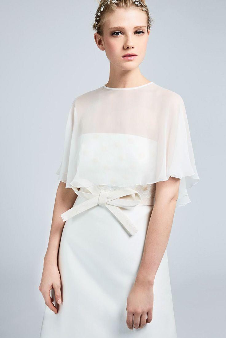 BRIONIA, white washed-silk chiffon shrug in the form of a small cape. #MaxMaraBridal