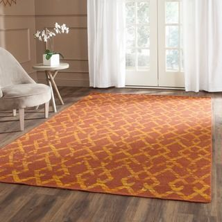 Safavieh Hand-Woven Straw Patch Rust/ Gold Wool/ Cotton Rug (5' x 8')
