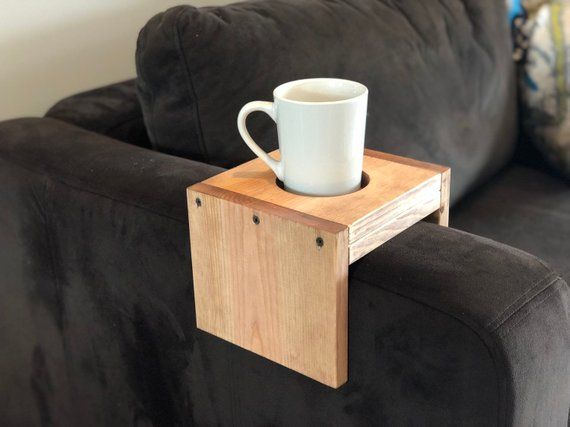 Wooden Cup Holder Arm Rest Table Tray Cup Cozy Etsy In 2021 Arm Rest Table Tray Table Sofa Arm Table