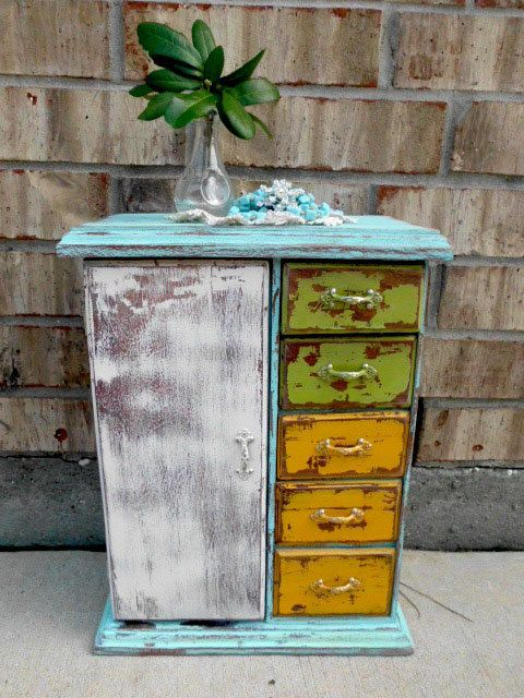 $31.95....???? Funky Farmhouse - Retro Mod - Upcycled - Vintage Wooden - WARDROBE Jewelry Box - Drawers - Boho CHIC. $31.95, via Etsy.