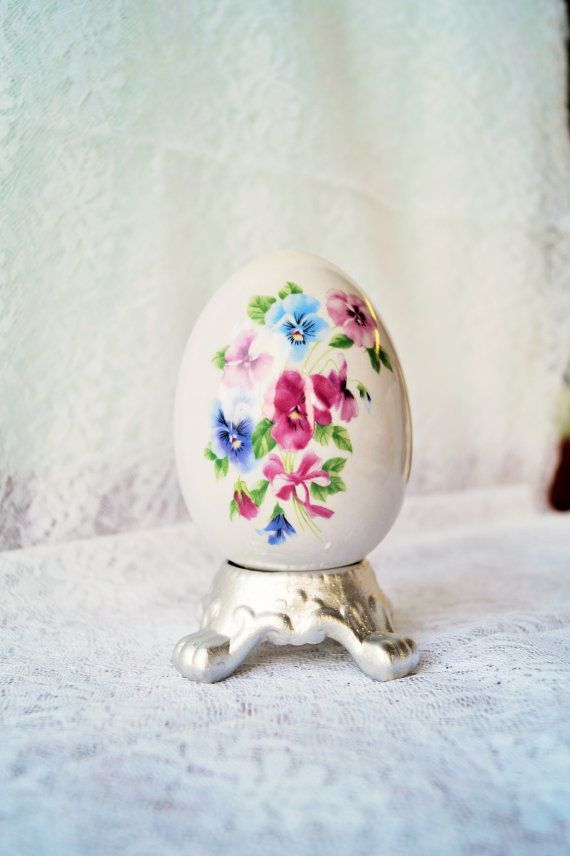 Vintage Ceramic Egg with Pink and Blue Flowers by TheMoonPorch