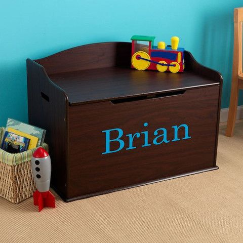 Modern Touch Personalized Toy Box Espresso Dibsies Personalization Station Personalised Toy Box Boys Toy Box Personalized Toys