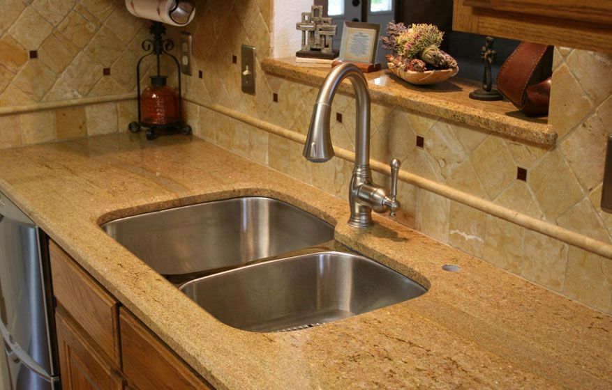 Giallo Colosseo Granite Kitchen Countertops Undermount Sink Travertine Backsplash Bevel