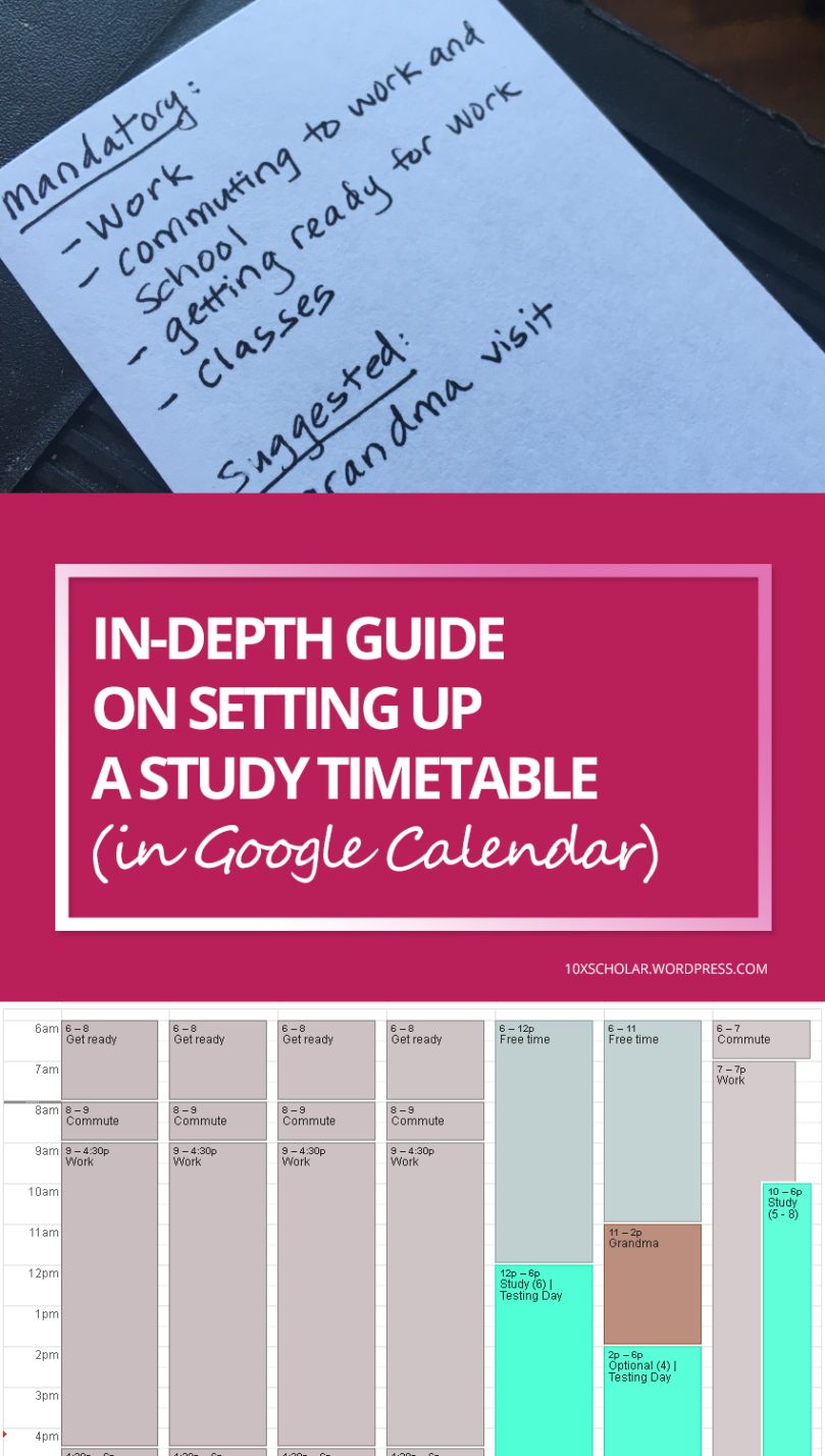 InDepth Guide On Setting Up A Study Timetable In Google Calendar