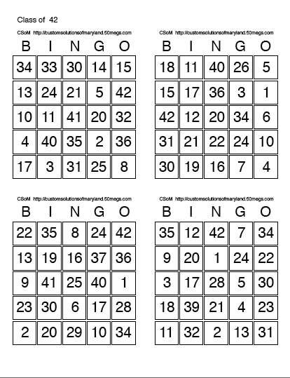Print Bingo Cards  Sheet  Each Bingo Sheet Has Four Unique Bingo