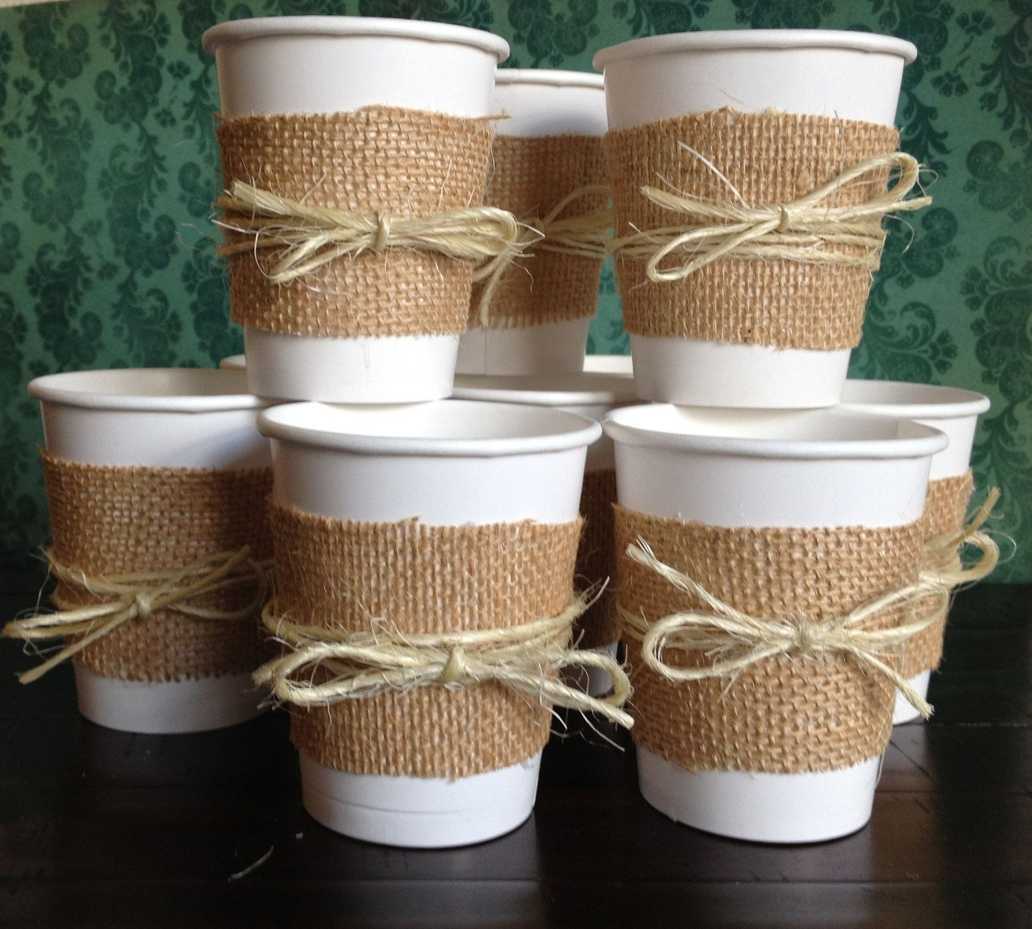 Set Of 20 Burlap And Twine Paper Cups For A Wedding Shower Baby Or Birthday Perfect Coffee Hot Chocolate Tea
