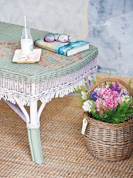 Reutiliza tus muebles de jardín | Muebles de mimbre pintados, Mimbre ...