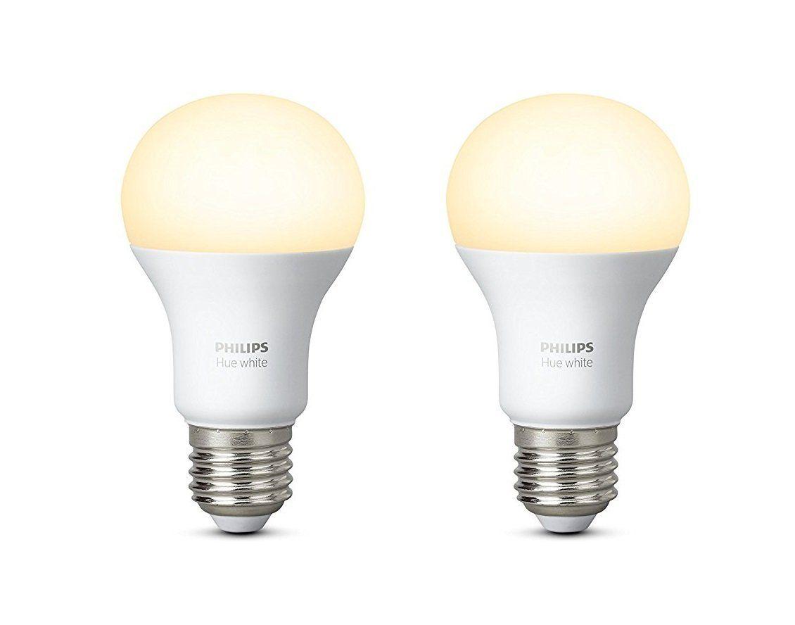 Philips 8718696729113 A Hue 9 5 W E27 Led Twin Pack Plastic White 6 1 X 6 1 X 11 Cm Amazon De Beleuchtung Hue E27 Led Light Bulb