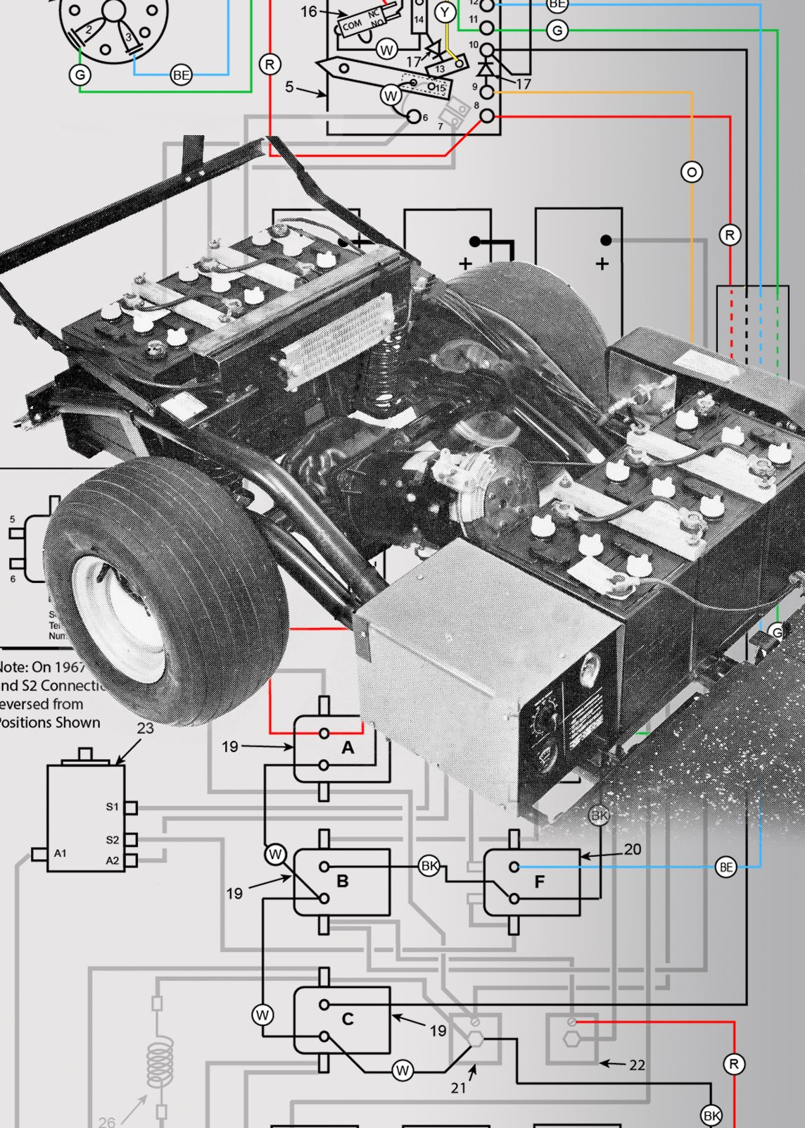 colora coded wiring diagram for 1967 through 1970 harley davidson de model golf carts [ 1144 x 1602 Pixel ]