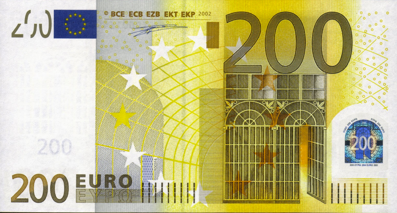 This is a picture of the 200 Euro bill. This bill is the