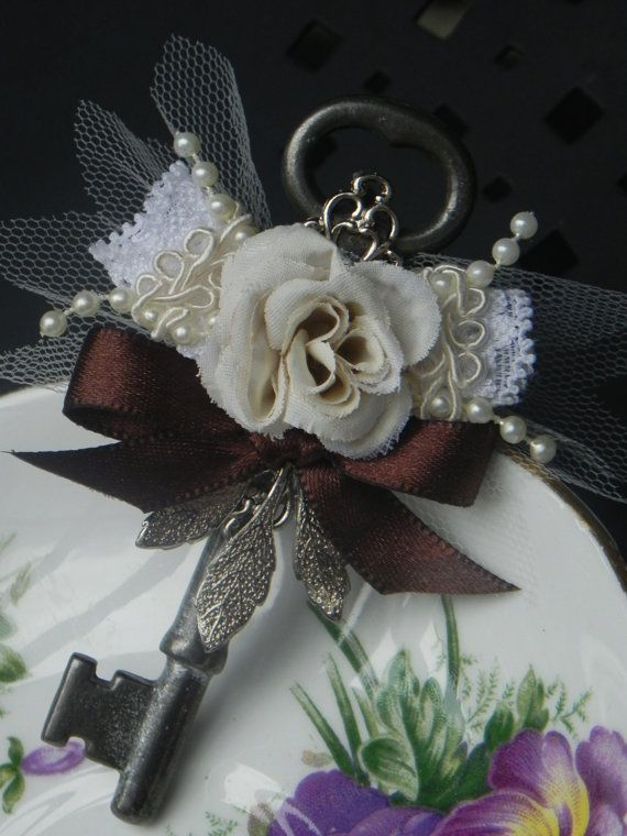 Ivory Rose Skeleton Key Boutonniere by ForeverBouquet on Etsy, $25.00