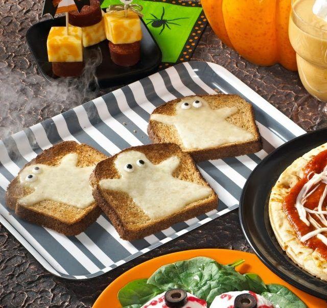 Halloween Essen Ideen Kinder Sandwich Geschmolzener Käse
