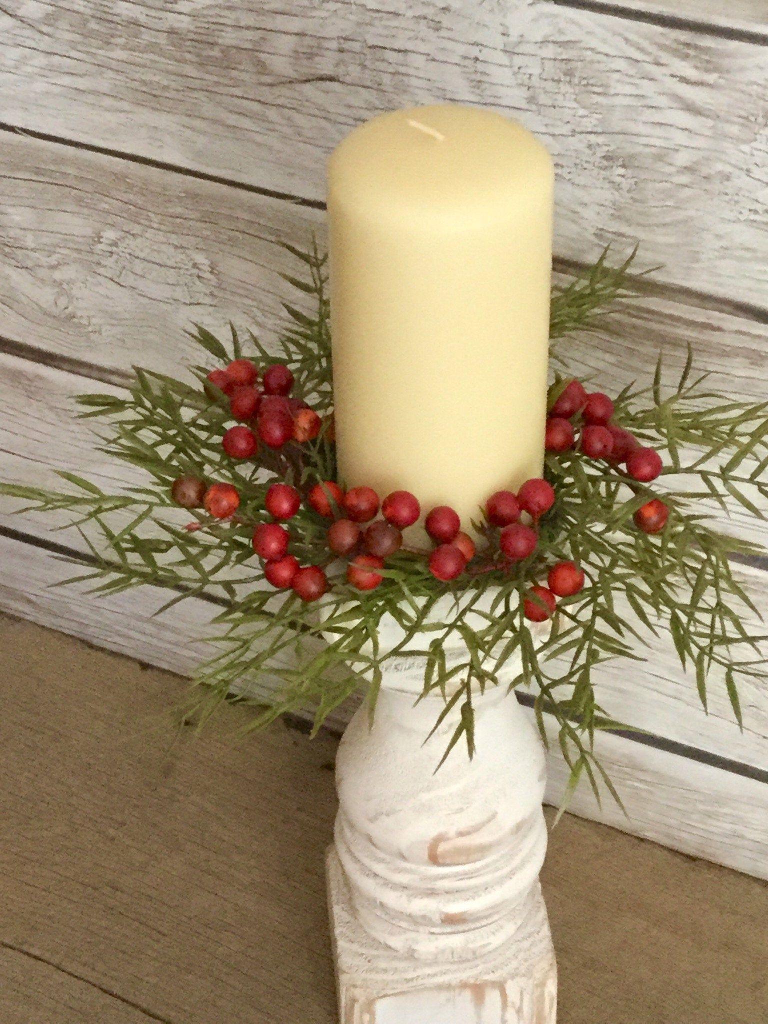 Mini Fall Boxwood Wreath, Candle Ring Wreath, Artificial