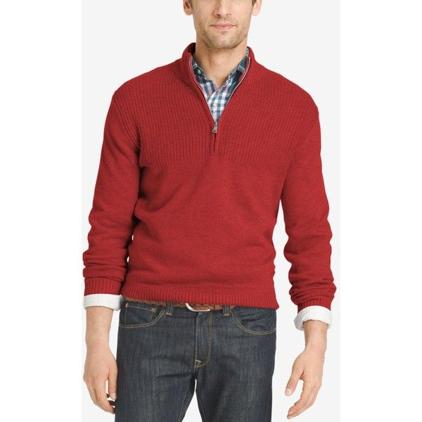 Izod Men's Dual-Texture Quarter-Zip Sweater ($70) ❤ liked on ...