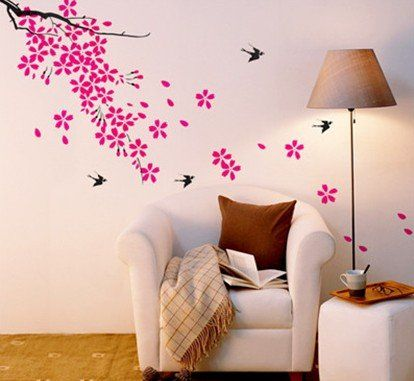 Beautiful Beautiful Sping Flowers With Cute Birds 70*50cm Wall Decor Wall Sticker 2  SETS Part 15