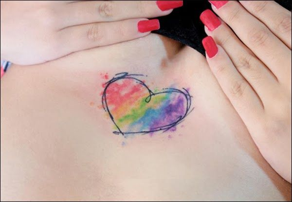 Tattoo Efeito Aquarela Watercolor Heart Tattoos Rainbow Tattoos