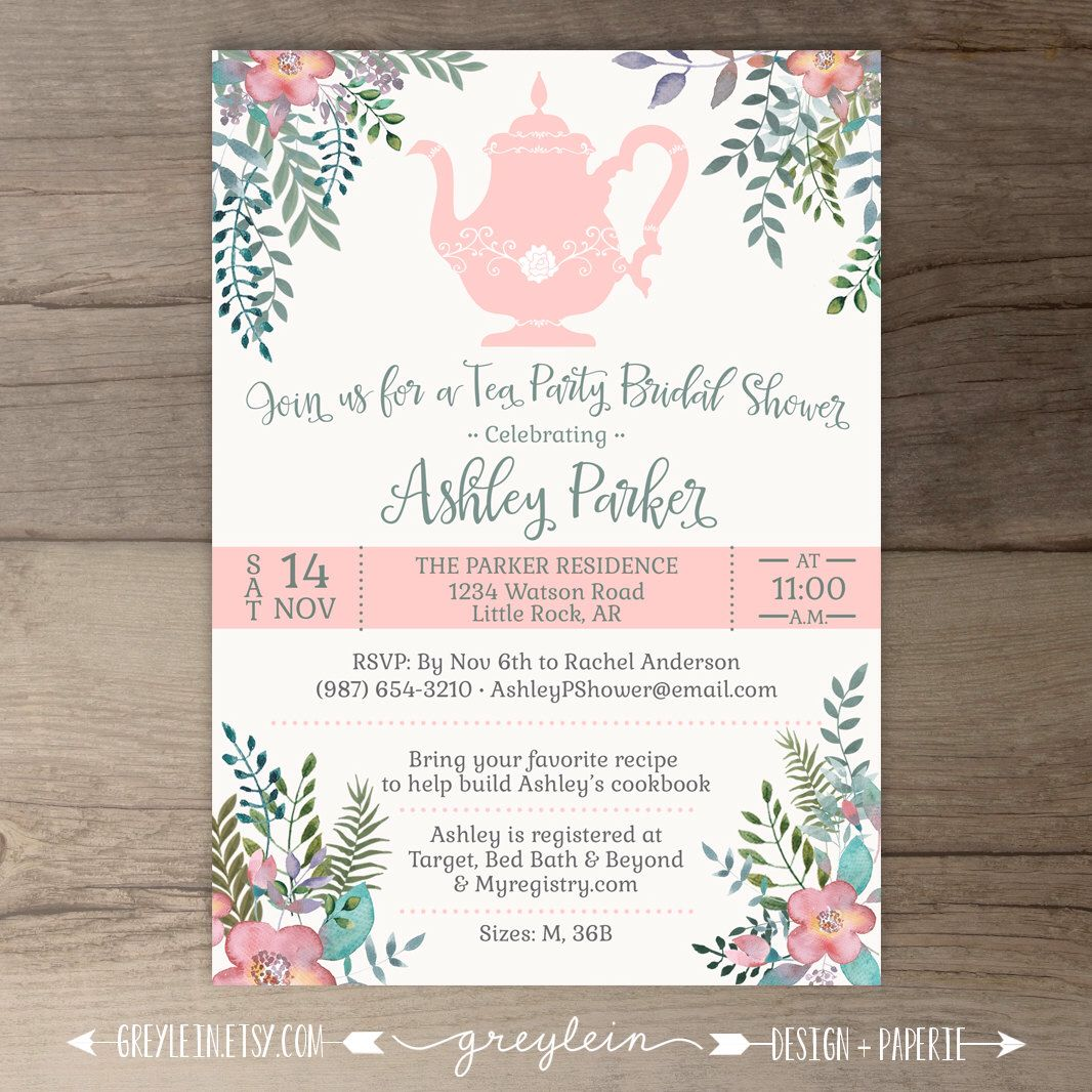 Floral Tea Party Bridal Shower Invitations • DIY Printable by ...