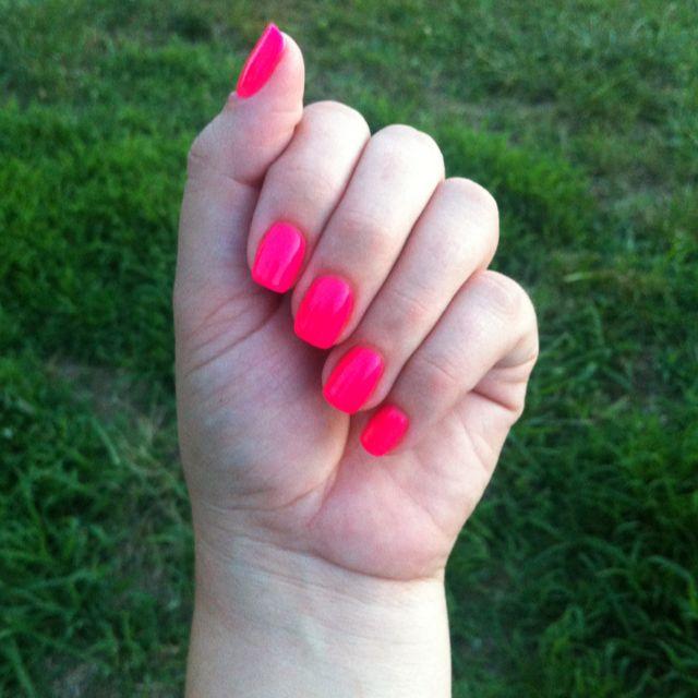 Hot pink gel nails   Nails   Pinterest