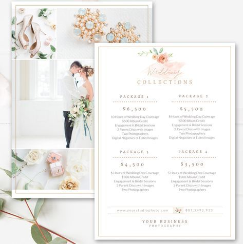 Photography Price List Template, Wedding Price Sheet, Photographer - Price Sheet Template