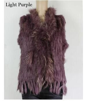New Real women Genuine Knitted Rabbit Fur Vest With Raccoon Fur Trimming Waistcoat Winter Fur Jacket Hot sale