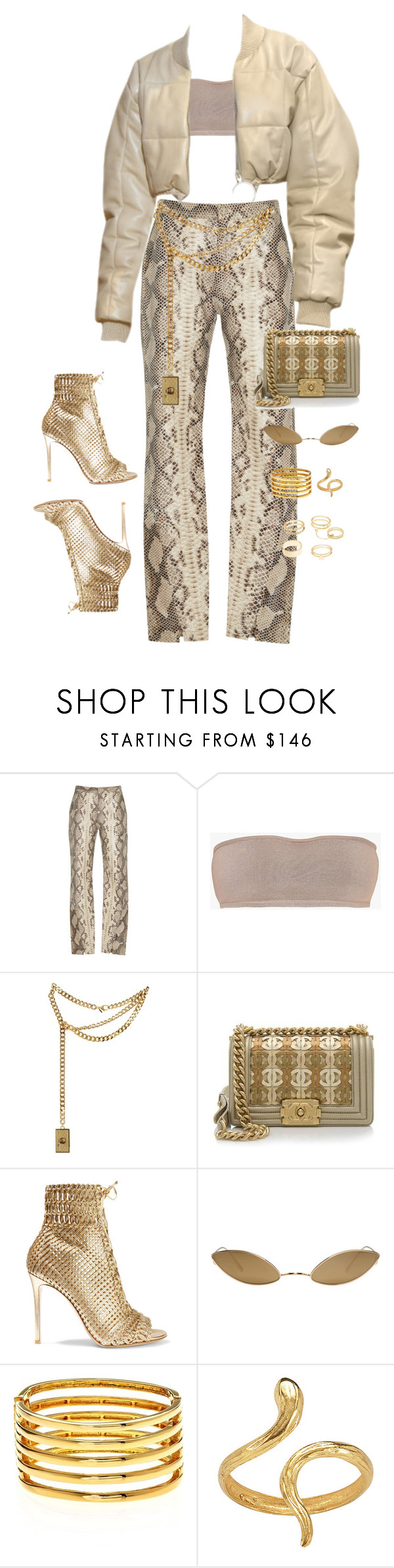 """24K"" by victoriaburton1 ❤ liked on Polyvore featuring Zeynep Arçay, Balmain, Moschino, Chanel, Gianvito Rossi, Acne Studios, Kenneth Jay Lane, Madina Visconti di Modrone and Charlotte Russe"