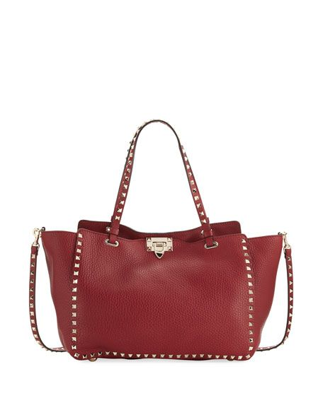 03e718513d VALENTINO ROCKSTUD MEDIUM LEATHER TOTE BAG, RED. #valentino #bags #shoulder  bags #hand bags #leather #tote #