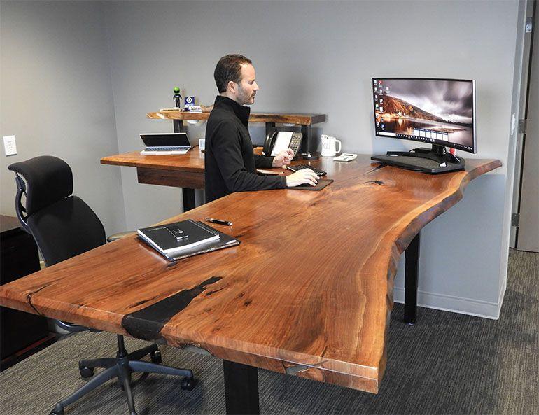 Ergonomic Live Edge Walnut Desk Live Edge Desk Walnut Desks Slab Desk