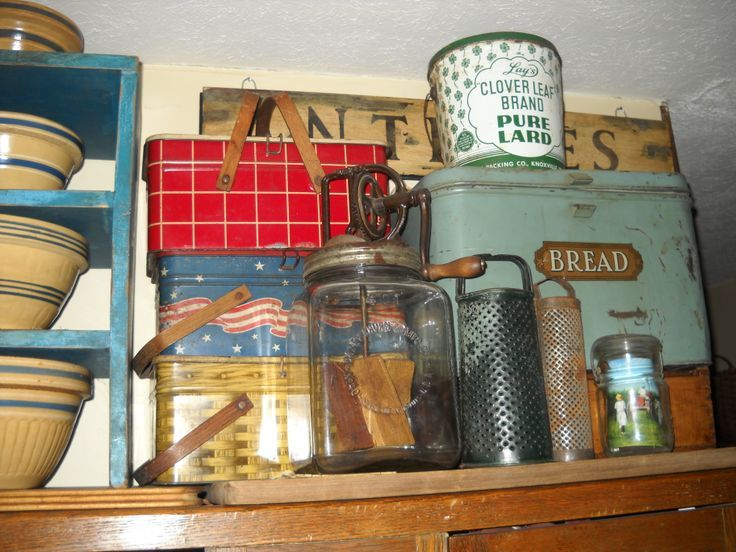 Bread box and metal picnic boxes with images vintage