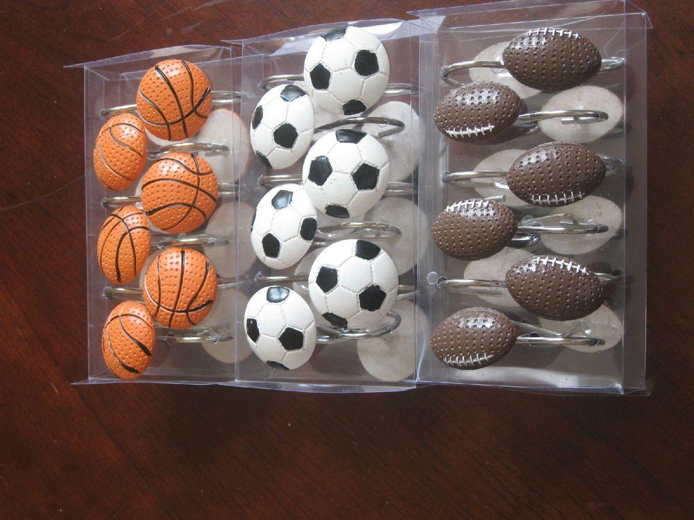 Sport Shower Curtain Hook Basketball Football Soccer
