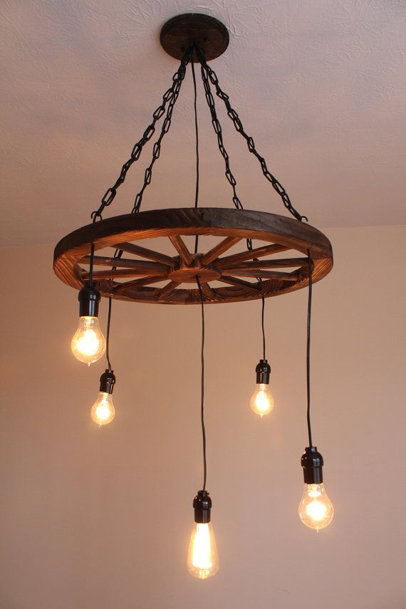 Vintage Industrial Wagon Wheel Chandelier by UEvrWndrY on