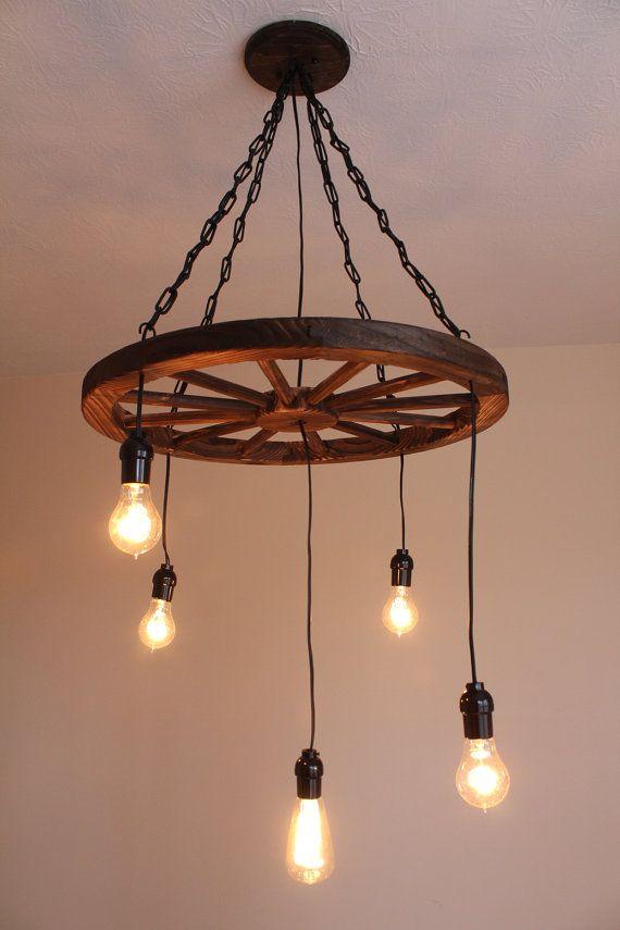vintage industrial wagon wheel chandelier by uevrwndry on etsy - Wagon Wheel Chandelier